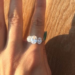 Cubic zirconia ring. At least 20 years old.